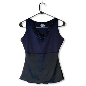 SPANX black Hide & Seek lace trim v-neck tank